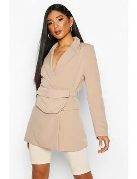Double Breasted Oversized Blazer With Belt Bag by Boohoo