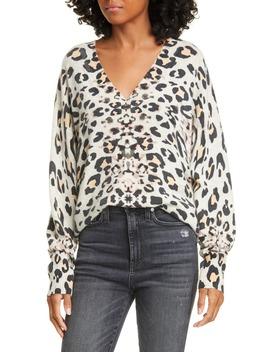 Kelso Leopard Print Cashmere V Neck Sweater by Brochu Walker