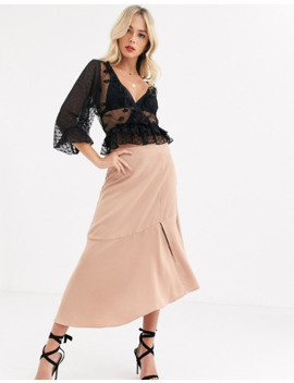 Asos Design Wrap Heart Mesh Top With Ruffle Detail In Black by Asos Design