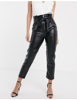 Parallel Lines Paperbag Waist Faux Leather Trousers With Zip Detail by Parallel Lines
