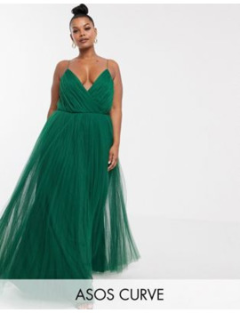 Asos Design Curve Cami Pleated Tulle Maxi Dress by Asos Design