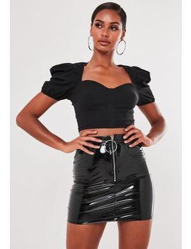 Petite Black Vinyl Ring Zip Mini Skirt by Missguided