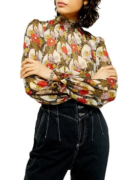 High Tie Neck Floral Top by Topshop