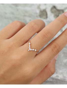Curved Wedding Band Rose Gold Moissanite /Diamond Wedding Band Vintage Women Marquise Cut Stacking Unique Bridal Anniversary Gift For Her by Etsy