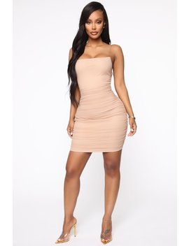 Mesh Behavior Mini Dress   Taupe by Fashion Nova