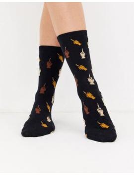 Typo – Hausschuh Socken Mit Mittelfingerdesign by Asos