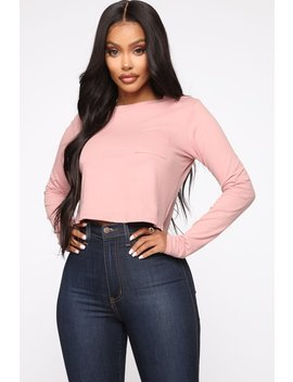 Marie Long Sleeve Cropped Tee   Rose by Fashion Nova