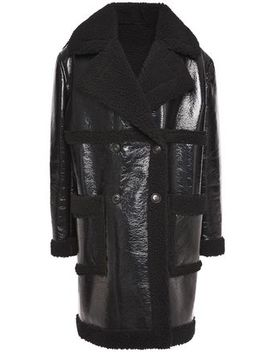 Double Breasted Faux Shearling Coat by Ainea