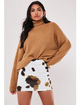 Petite Brown Cow Print Mini Skirt by Missguided