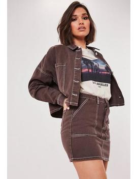 Chocolate Co Ord Utility Denim Mini Skirt by Missguided