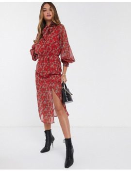 River Island Midi Dress With Pussybow Blouse In Red Floral by River Island