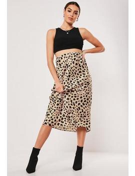 Petite Nude Animal Print Satin Midi Skirt by Missguided
