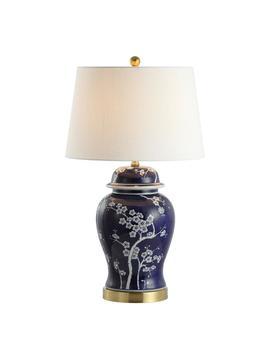 Gracie 29.5 In. Ginger Jar Ceramic/Metal Led Table Lamp, White/Navy by Jonathan Y
