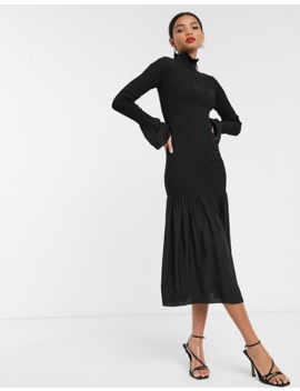 & Other Stories Smocked Long Sleeve Midi Dress In Black by & Other Stories