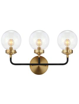 Caleb 22 In. 3 Light Black/Brass Wall Sconce by Jonathan Y