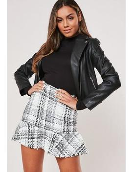 White Check Boucle Frill Hem Mini Skirt by Missguided