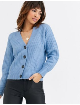 Warehouse Travelling Rib Cozy Cardigan In Blue by Warehouse