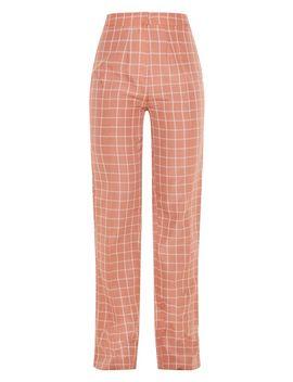 Pink Checked Straight Leg Pants by Prettylittlething