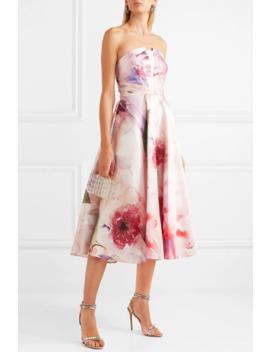 Strapless Floral Print Mikado Piqué Gown by Marchesa Notte