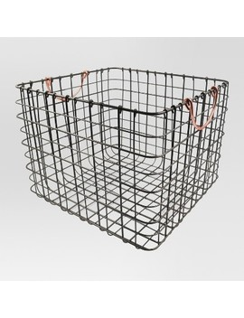 Large Wire Milk Crate With Copper Handles   Threshold™ by Shop Collections