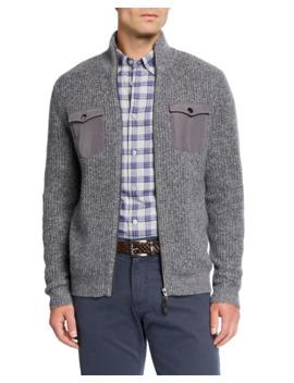 Men's Melange Cashmere Two Way Zip Sweater by Neiman Marcus