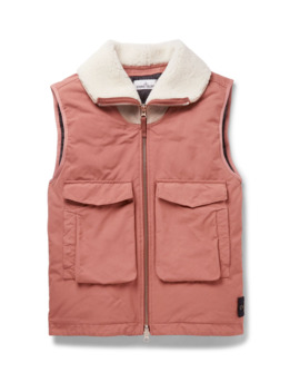 Shearling Trimmed Garment Dyed David Tc Down Gilet by Stone Island
