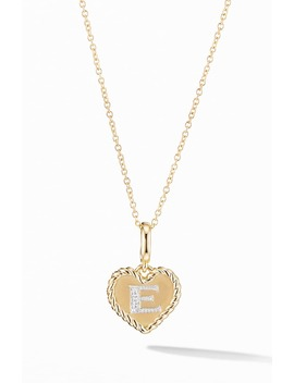 Initial Heart Charm Necklace In 18 K Yellow Gold With Pavé Diamonds by David Yurman