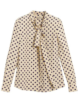 Polka Dot Pussybow Blouse by Burberry