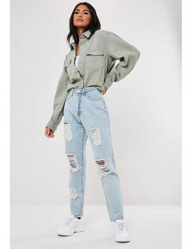 Riot Blue Light Wash High Waisted Distressed Mom Jeans by Missguided