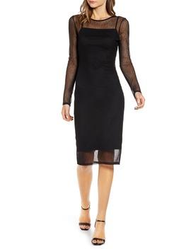 Mesh Overlay Long Sleeve Dress by Chelsea28