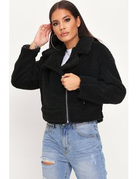 Black Cropped Borg Aviator Jacket by I Saw It First