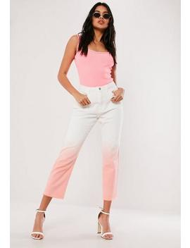 Pink Ombre Wrath Straight Leg Denim Jeans by Missguided