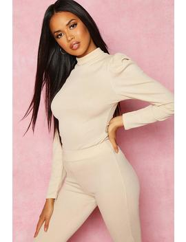 Recycled High Neck Puff Sleeve Rib Top by Boohoo