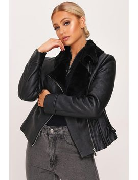 Black Pu Cropped Aviator Coat by I Saw It First