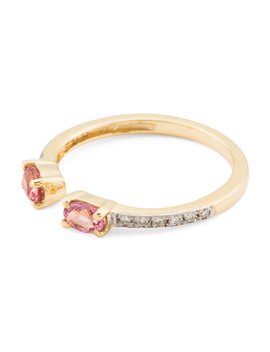 Made In Spain 14k Gold Diamond Pink Tourmaline Open Ring by Tj Maxx