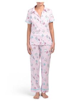 Short Sleeve Printed Pajama Set by Tj Maxx