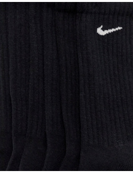 Nike Black Swoosh Logo 6 Pack Crew Socks by Nike
