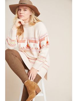 Aimee Pommed Alpaca Sweater by Anthropologie