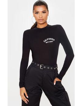 Black California Slogan Long Sleeve Bodysuit by Prettylittlething