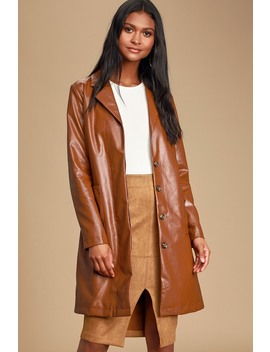 Four Leaf Clover Brown Vegan Leather Trench Coat by Lulus