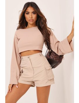 Brown Basic Long Sleeve Ribbed Crop Top by I Saw It First