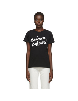 Black Handwriting T Shirt by Maison KitsunÉ