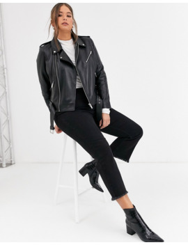 Barney's Originals Plus Leather Jacket With Belt by Asos