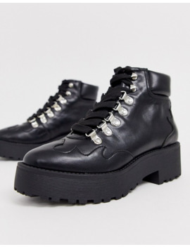 Na Kd   Bottines Lacées   Noir by Na Kd