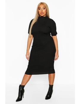 Plus Rib High Neck Puff Sleeve Midi Dress by Boohoo