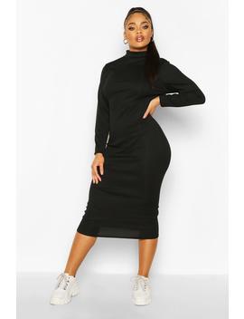 Plus Rib Knit Roll Neck Midi Dress by Boohoo