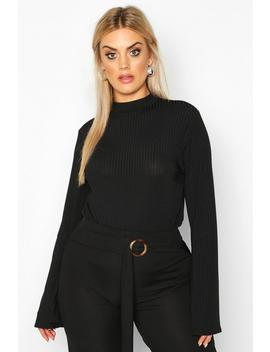 Plus High Neck Long Flare Sleeve Top by Boohoo