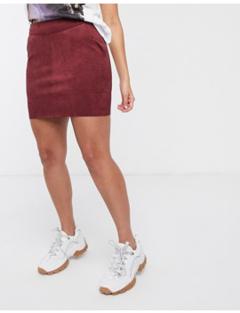 Only Faux Suede Mini Skirt In Burgundy by Only's