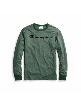 Champion Men's Heritage Heather Long Sleeve Tee, Script Logo by Heritage