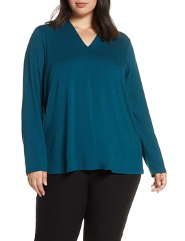 V Neck Stretch Tencel® Lyocell Top by Eileen Fisher